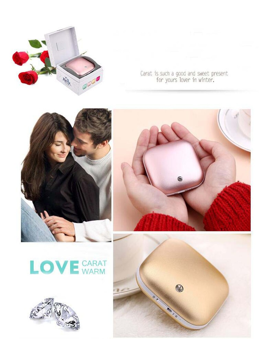 Diamond Lover 3500mAh Hand warmer Power Bank Double Alloy Surfaces Body Warmer Heater Portable Power Bank for moblil phone