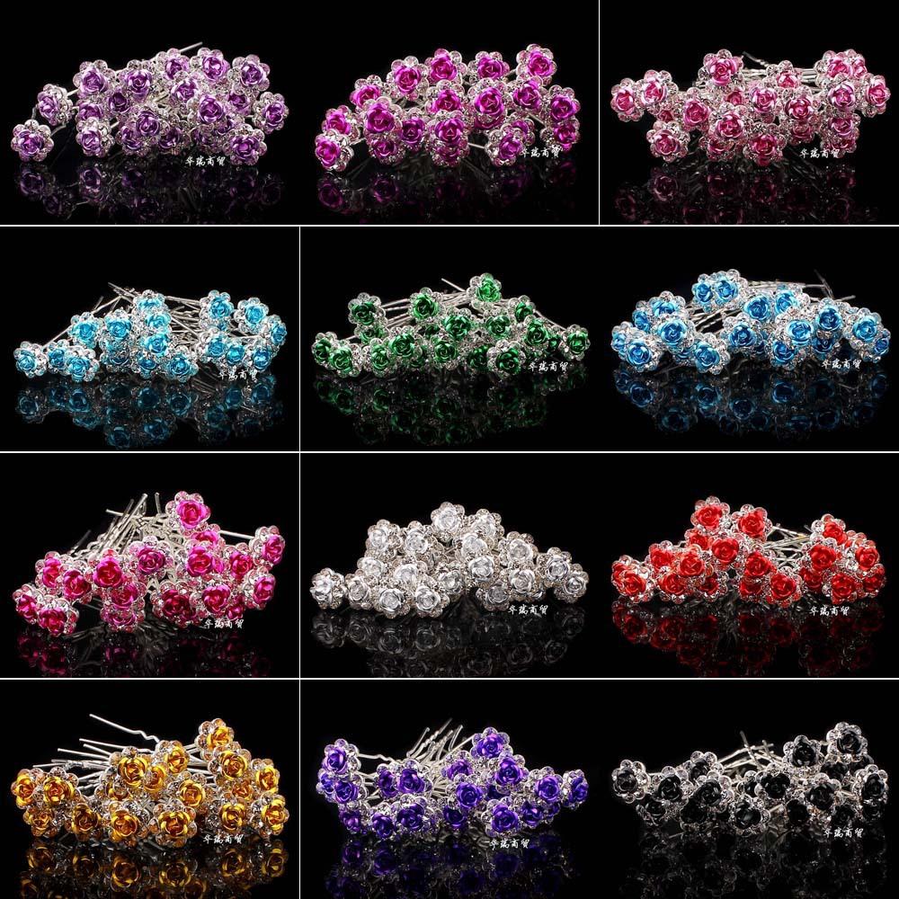 Wholesale 20pcs Lot Clear Crystal Rhinestone Rose Flower  Hair Pin Clips Women Wedding Bridal Hair Jewelry Free Shipping(China (Mainland))