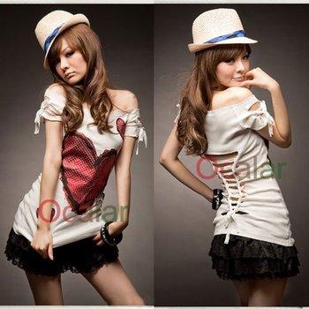 Korean Sexy Girls Off Shoulder Red heart Long Slim Shirt Top T-shirts on Hot sale  E0353