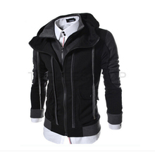 Men Hot Sale Autumn Fake Two Layer Zipper Hoodies and Sweatshirt Color Contrast Men Hoody Jacket Sudaderas Hombre 4 Colors