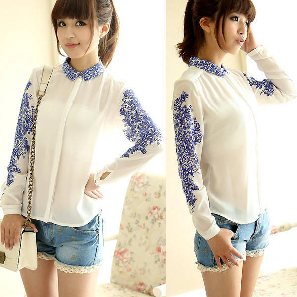 Chiffon Blue White Porcelain Floral Long Sleeve BUTTON Regular Length O-neck Print Fashion Shirt Blouse nz06 - F-TIME WATCH STORE store