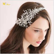 BH52 Bridal Romantic White Water Drop Crystals Headdress flowers Wedding Hat Wedding Accessories(China (Mainland))