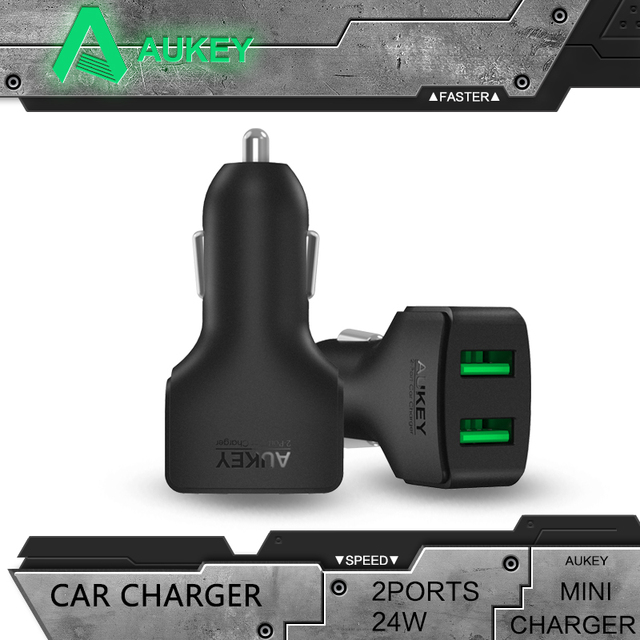 Aukey Smallest and Powerful 24W/4.8A 2-Port USB Car Charger for iPhone 6S 6 Plus iPad Air 2 mini 3 Galaxy S7 S6 Edge+ Note 5
