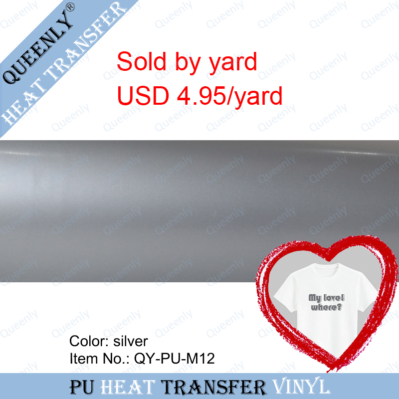 Silver PU heat transfer vinyl t shirt transfer vinyl sold by yard 5 yards/pack width 18.9inch(China (Mainland))