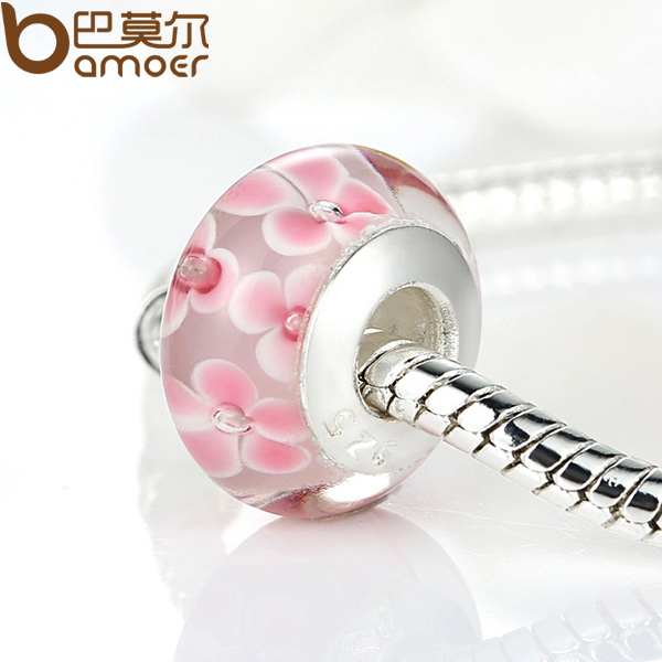 High Quality 925 Sterling Silver DIY Pink Flower Murano Glass Beads Fit Original Pandora Bracelet Charms For Women Jewelry(China (Mainland))