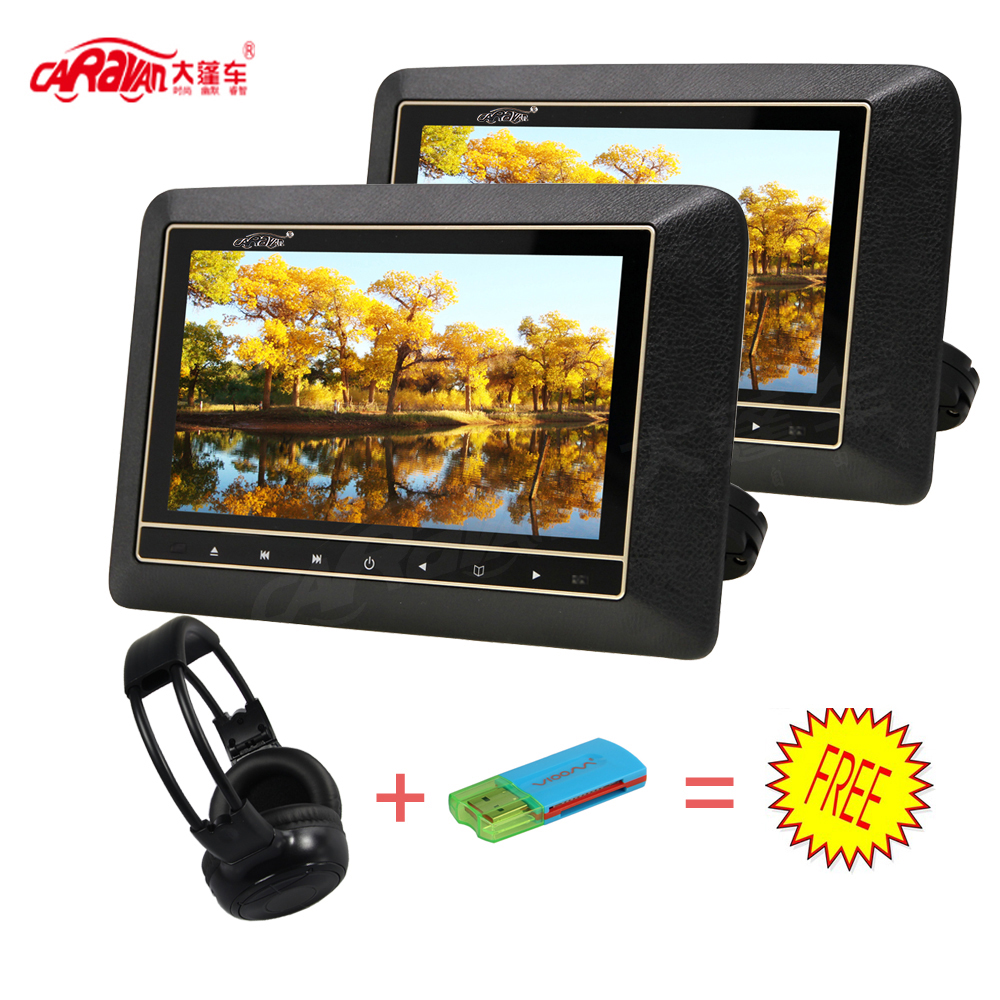 CARAVAN 2PCS Full 9 inch HD LCD Screen Portable Car Headrest DVD Monitor Player 800*480 Support USB/HDMI/RCA/IR/FM 3 Colors(China (Mainland))