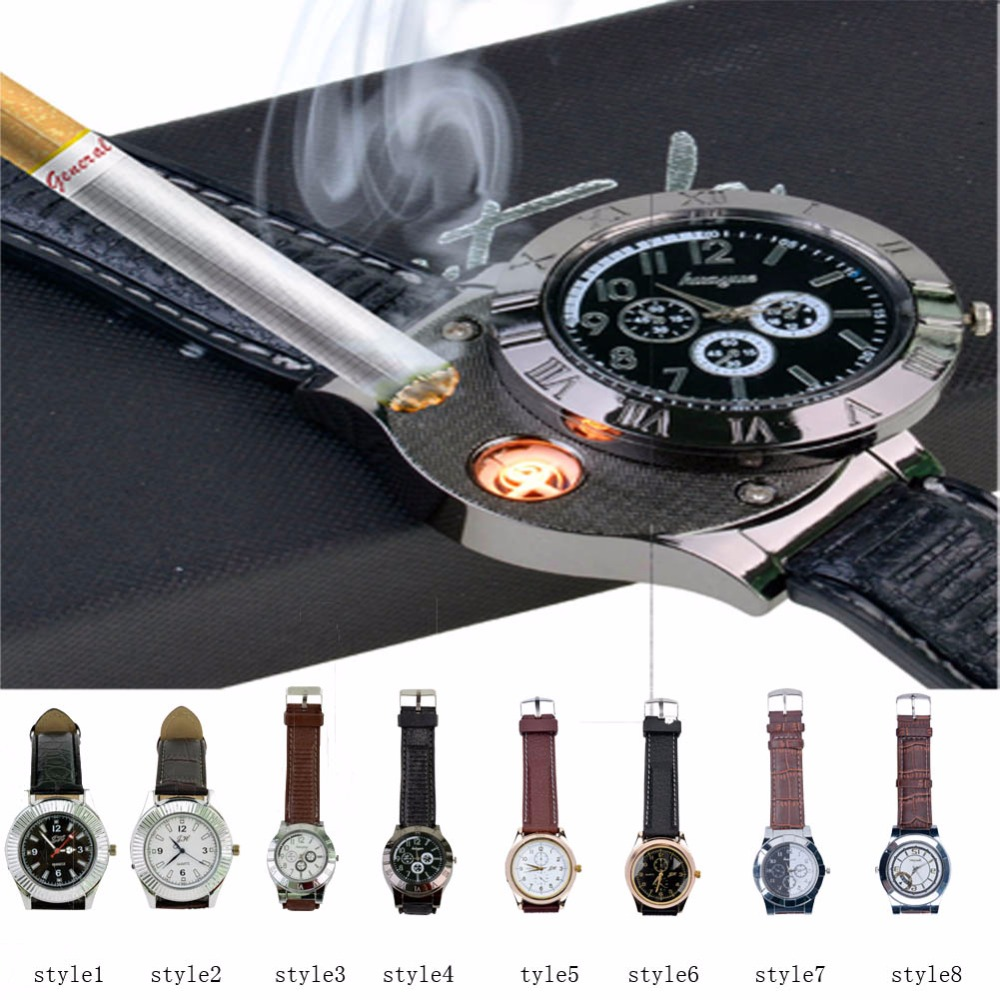 Electronic USB Lighter Watch Windproof Flameless Cigarette Lighter USB Men's Casual Quartz Wristwatches Rechargeable Men Watches(China (Mainland))
