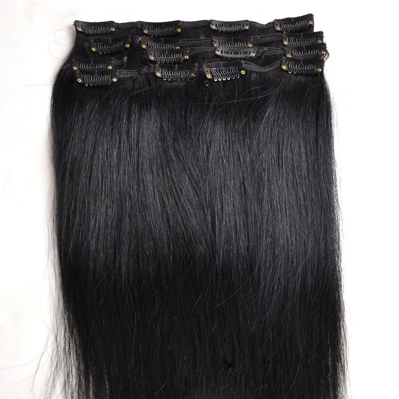 #1 jet black Best Selling Clip in Human Hair Extensions Natural Human Hair 100% Remy Brazilian Virgin Hair-()
