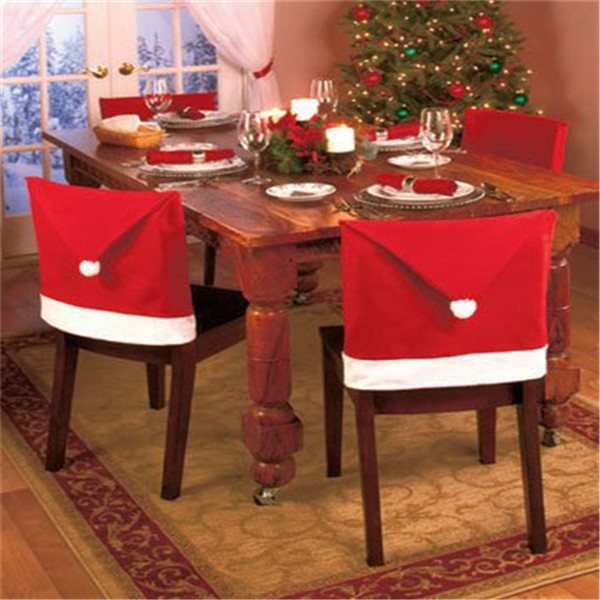 Hot Sale New Arrival Red Hat Chair Covers Christmas Decorations Dinner Decor Chair Sets Gift High Quality(China (Mainland))