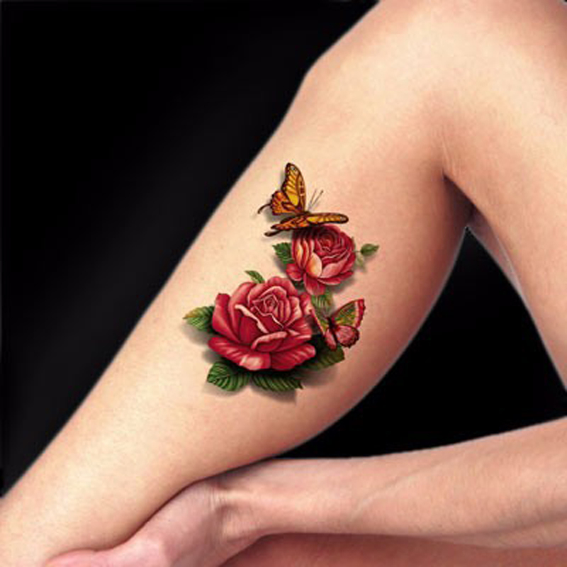 1Pcs Rose Flower Temporary Tattoos Sleeve Women's 3D Colorful Waterproof Tattoo Stickers For Body Art DIY Makeup Hot(China (Mainland))