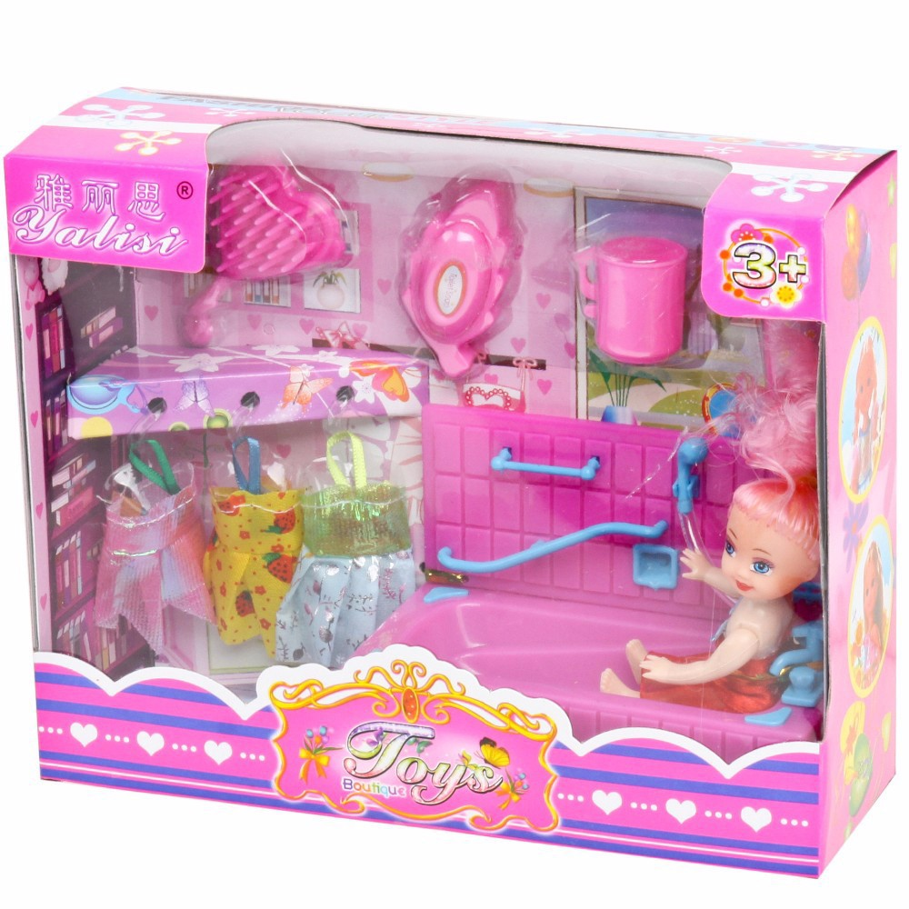 Free Shipping Fashion Kelly Dolls Play House Toy Pink Dress Doll Accessories Set DIY Eductional Preschool Baby Toys Girls Gift(China (Mainland))