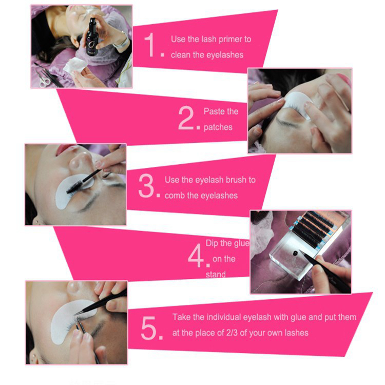 7 Item Eyelash Extension Tools Kit Individual False Eyelashes Extension Kit Tape Tweezers Cream Remover Glue Ring Microbrush Kit