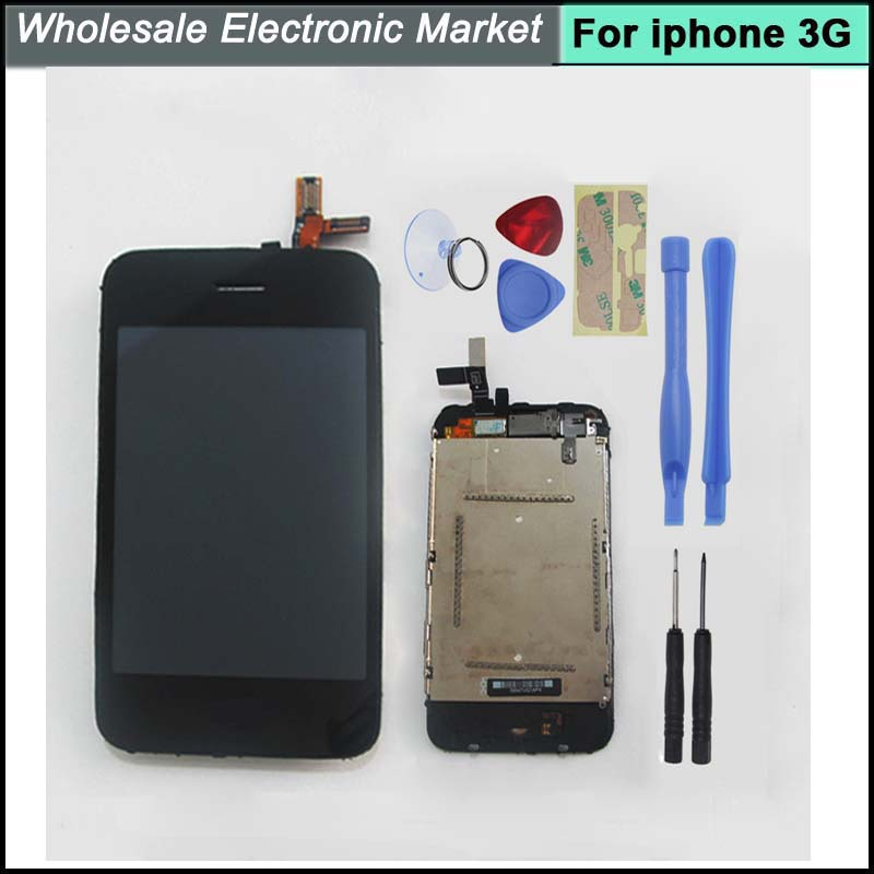 High Quality LCD Display + Digitizer Touch Screen lens+Tools+Home Button For iPhone 3G Replacement Black,Free shipping(China (Mainland))