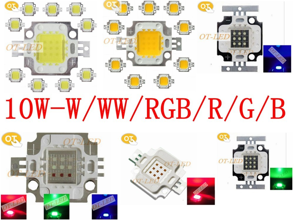 Freeshipping!High Quality 5PCS/lot 10W 45MIL White Warm White Red Green Blue Yellow RGB LED Chip DIY Lamps for Flood light/DIY(China (Mainland))