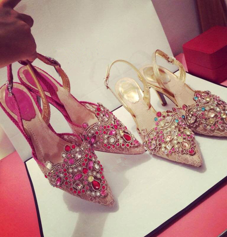 Freeshipping 2015 New flower female high-heeled wedding shoes pink high-heeled shoes the bride shoes fashion party shoes(China (Mainland))