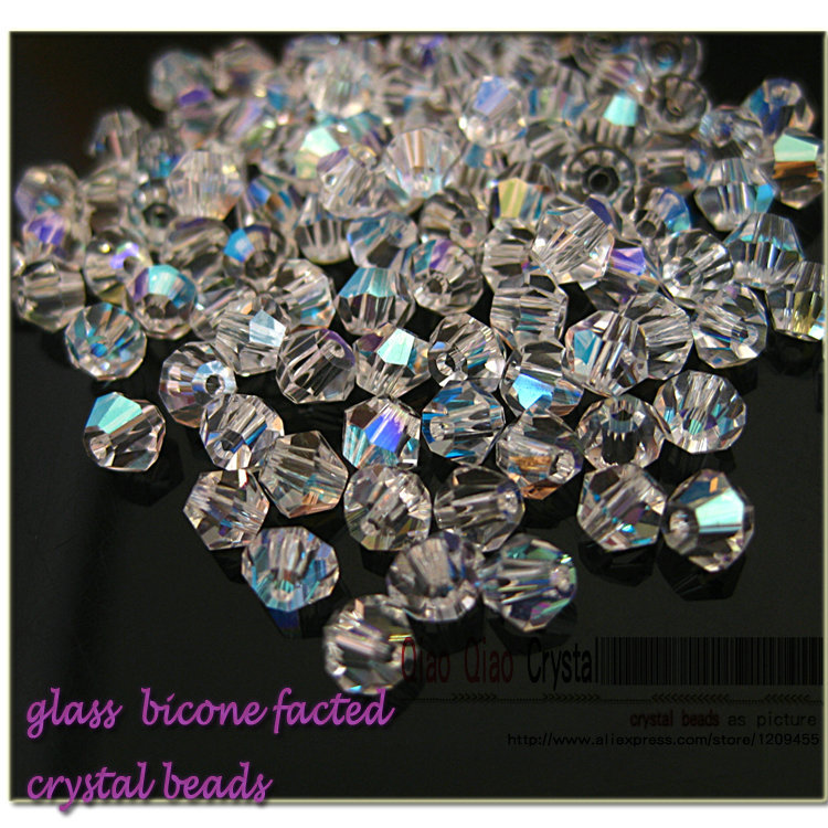 new promotion 720pcs/package,beading accessories Chinese Top Quality AAA 4MM Crystal AB/clear AB bicone Beads free shipping(China (Mainland))