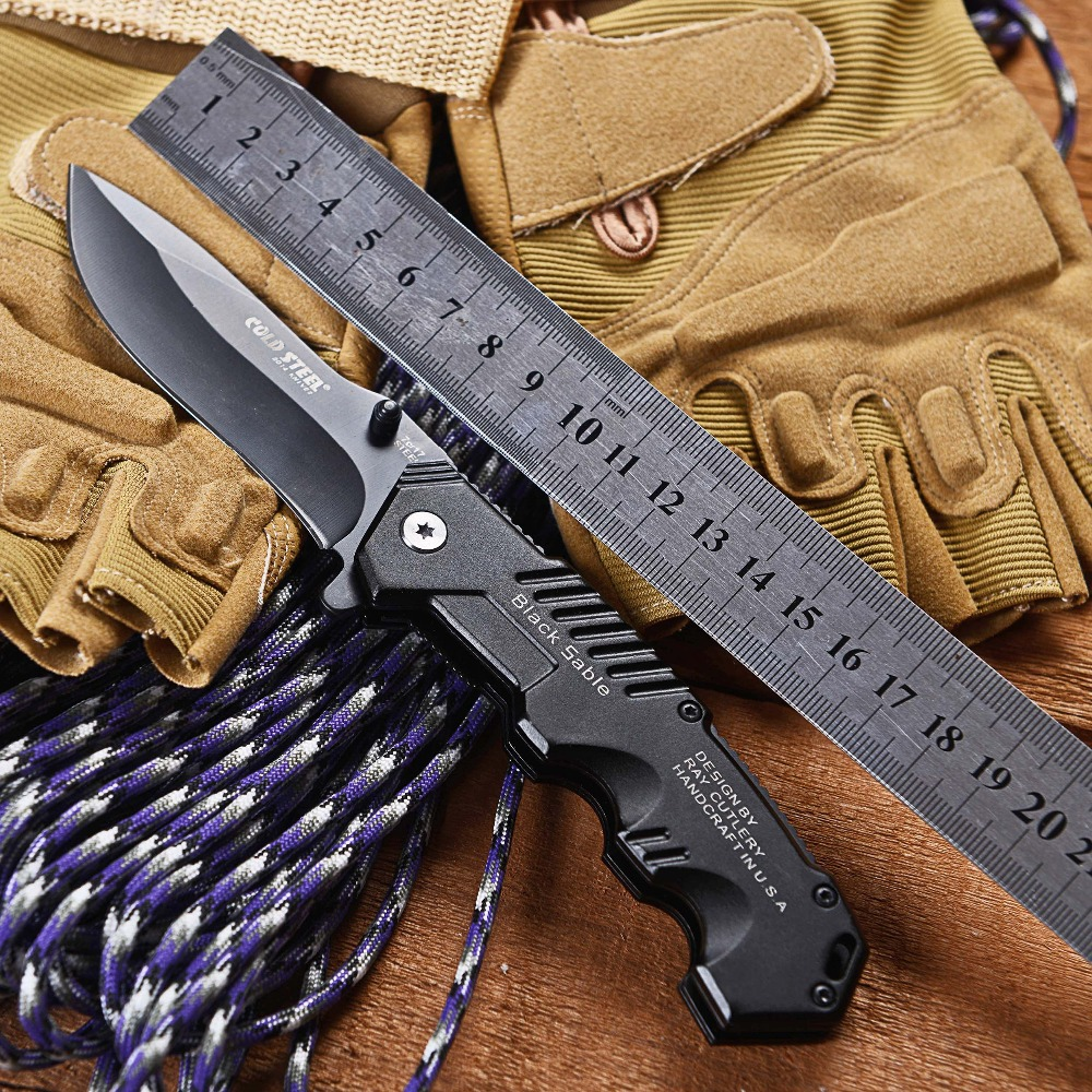 Гаджет  Cold Steel HY217 Folding Black Blade Knife  20.1cm Overall Length Camping Knives Steel Hanlde HY 217 Drop-shipping Free Shipping None Инструменты