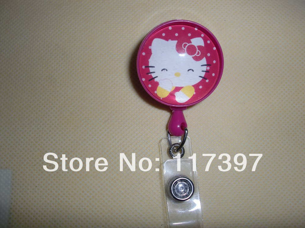 10pcs/lot Hello Kitty Cartoon Retractable Lanyards ID Badge Card Holder For Children & Women Free Shipping(China (Mainland))