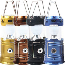 Solar Rechargeable Led Camping Lantern Flashlight Ultra Bright Collapsible Solar Camping Light for Outdoor Hiking Hot S(China (Mainland))