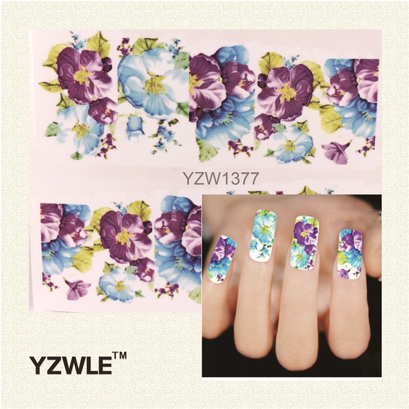 YZWLE Water Transfer Nail Decals, Purple Flower Designs Watermark Nail Art Stickers Tattoos Decorations Tools For Polish(China (Mainland))