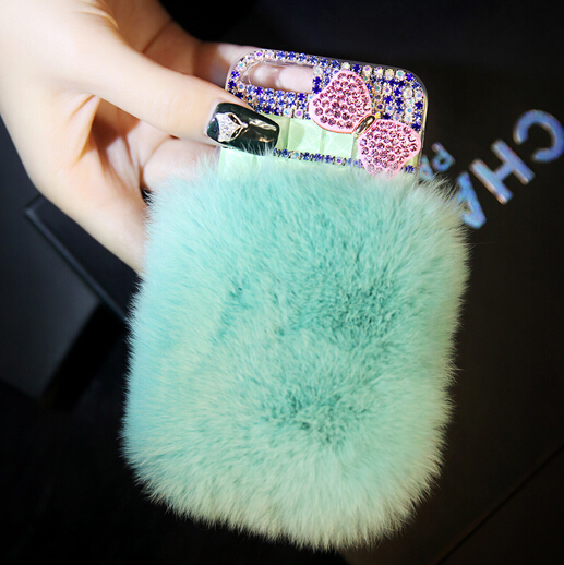 New Design DIY Case For iPhone 6 4.7inch,Cute Rabbit Fur Case Luxury Bowknot Rhinestone Case For iPhone 6 Cover Free Shipping(China (Mainland))