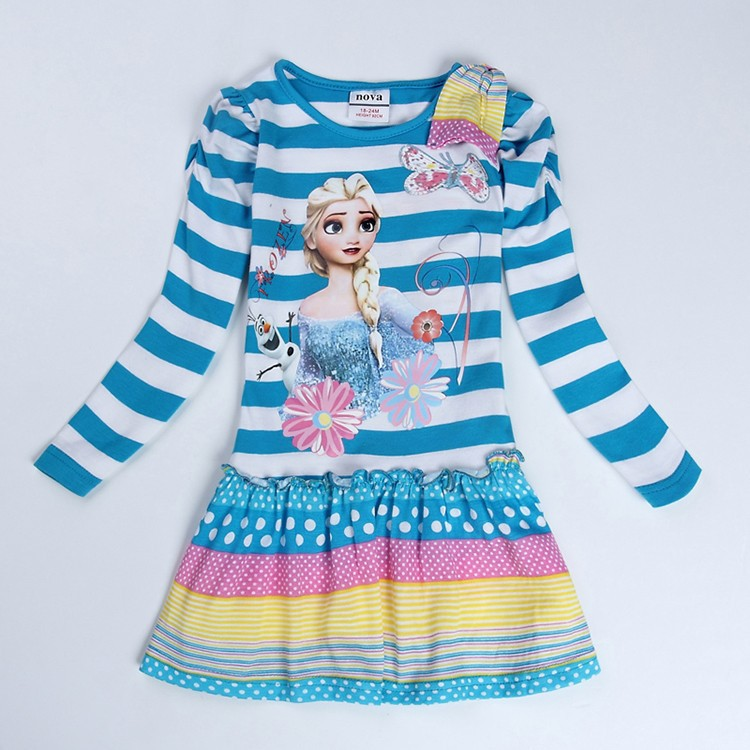 Elsa anna dress Kids Girls Dresses baby clothing 2015 Anna Costume Long Sleeve Fashion Cotton O-Neck Pinafore Dress - Nova Brand Store store