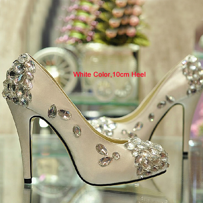 2015 satin white wedding shoes Gorgeous Crystal High-heeled Bridal Dress Shoes Evening Graduation Party Prom Shoes for Mother<br>