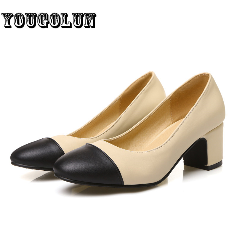2016 Women med heels Pumps woman pink white apricot round toe casual Shoes ladies summer autumn female mixed colors party shoes