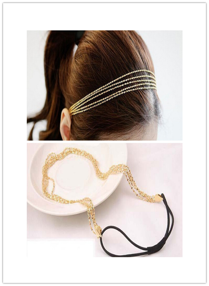 2015 New Fashion Women's Multilayer Alloy Tassel Chain Jewelry Hair Hoop Headpiece Hair Band Hari Accessories(China (Mainland))