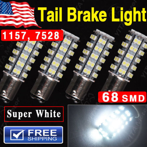 Free Shipping Car Led Bulbs 4Pcs Super Bright White BAY15D 1157 68-SMD led Car Tail Stop Brake Light LED Bulb 12V External Light(China (Mainland))