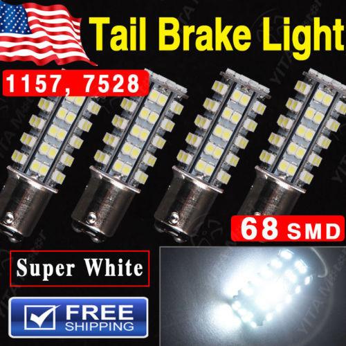 Free Shipping Car Led Bulbs 4Pcs Super Bright White BAY15D 1157 68-SMD led Car Tail Stop Brake Light LED Bulb 12V External Light(China (Mainland))