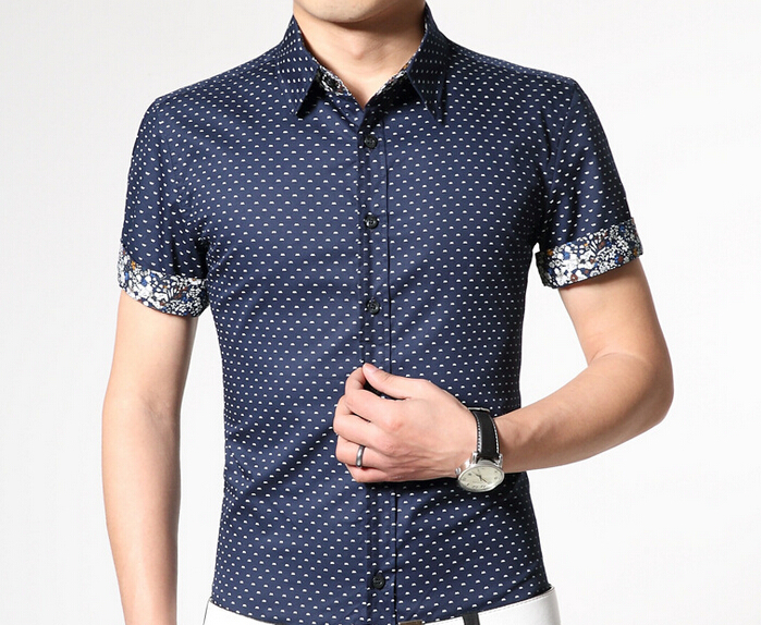 Men Shirt Brand Short Sleeve Turn down Collar Casual Social Shirts Dress Slim Fit Dot Design