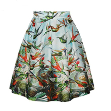 Sea-mao 2016 newest women mini skirt birds print casual Skirt High Waist skirts for women Fashion Pleated Skirts F847
