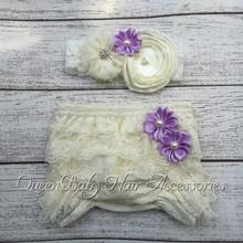 Baby Lace Ruffle Shorts Matching Baby Headband   Baby Girl  Diaper Covers  Baby Ruffle Bloomer(China (Mainland))
