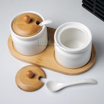 New fashion kitchen ceramic spice jar sauce pot with 2pcs spoon,bamboo lids and holder