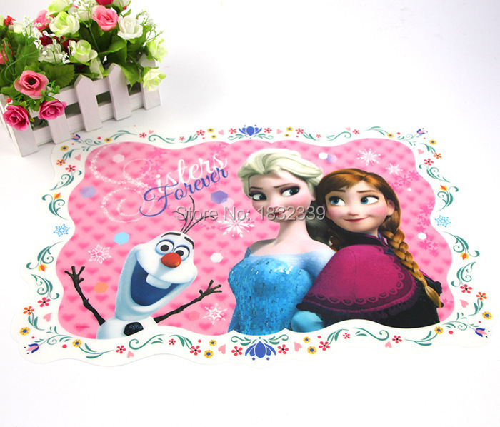 2015 elsa anna princess Rectangle Placemats Table Mats girl boy cartoon Pad Tableware Dinnerware Kitchen Dining Bar Accessories(China (Mainland))