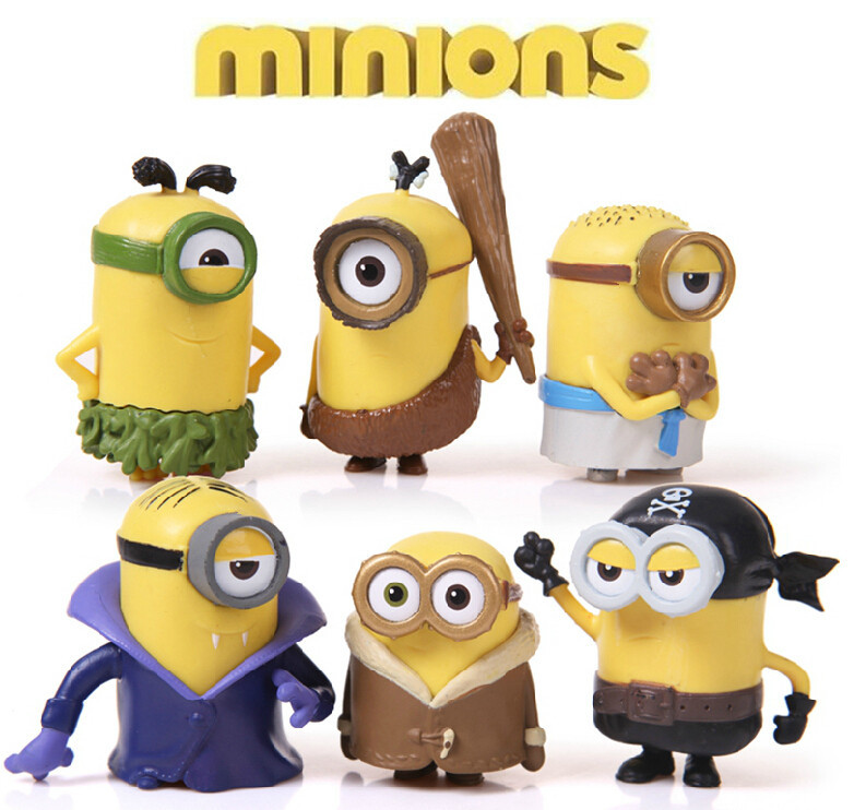 2015 New Despicable Me 2 Minion Action Figure Toys 6Pcs/Lot Cosplay Vampire & Primitive& Pirate Model Toys Brinquedos 6CM Figure(China (Mainland))