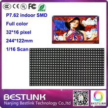 indoor rgb led video display p7.62 SMD indoor full color led screen 32*16 pixel 16s LED module 244*122mm led advertising board(China (Mainland))