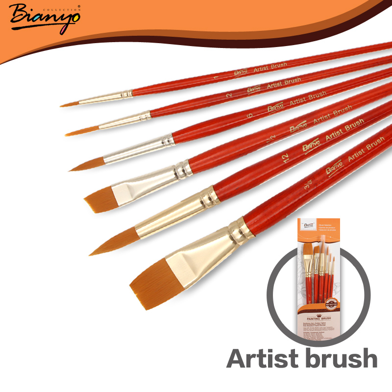 Bianyo 6Pcs Nylon Hair Acrylic Paint Brush Set Wooden Short Handle Artists Gouache Watercolor Paint Brushes for Art Supplies<br><br>Aliexpress