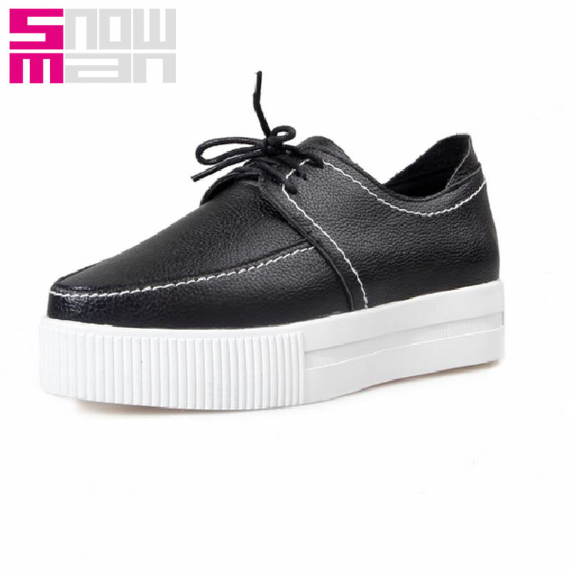 2016 Spring Lace Up Women Flats Fashion Pointed Toe Shoes Thick Flats Platform Shoes Woman Big Size 33-44 Casual  Women Shoes