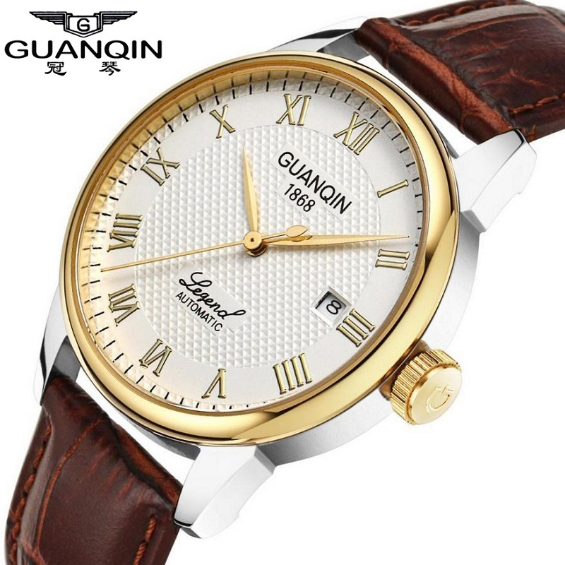 GUANQIN authentic men automatic mechanical watches waterproof watch retro leather belt male watch business fashion watch<br><br>Aliexpress