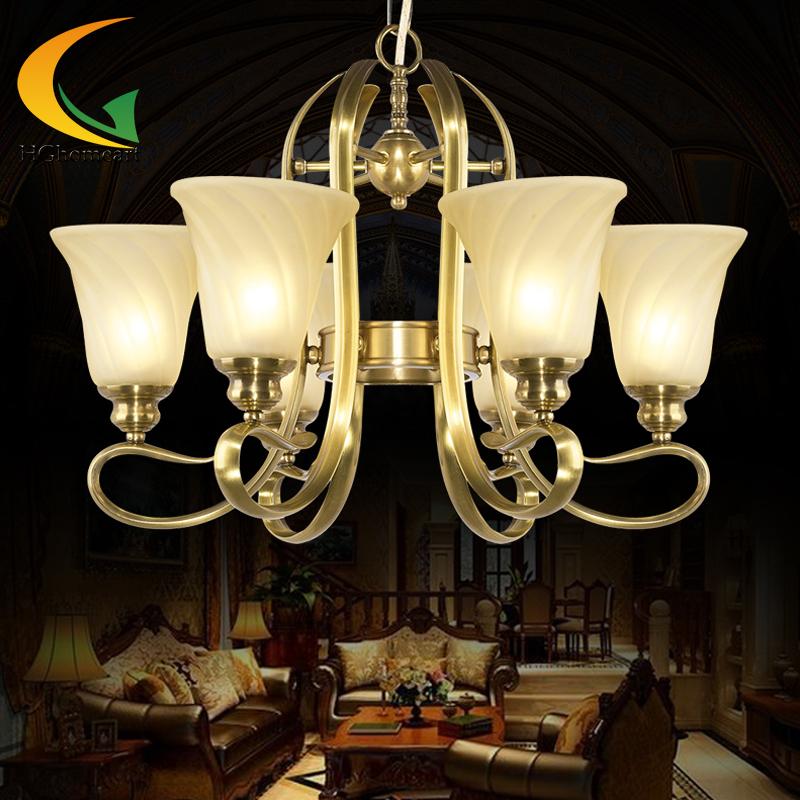 full copper chandelier all-copper lamp bedroom lamps study lamp restaurant retro chandelier living room ceiling lights