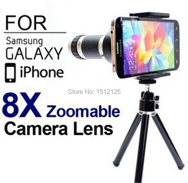 Universal 8X Zoom Telescope Lens with Tripod Mobile Lens for iPhone 4 5 5S 6/6 Plus Samsung Galaxy S3 Note2 S4 S5 Nokia HTC(China (Mainland))