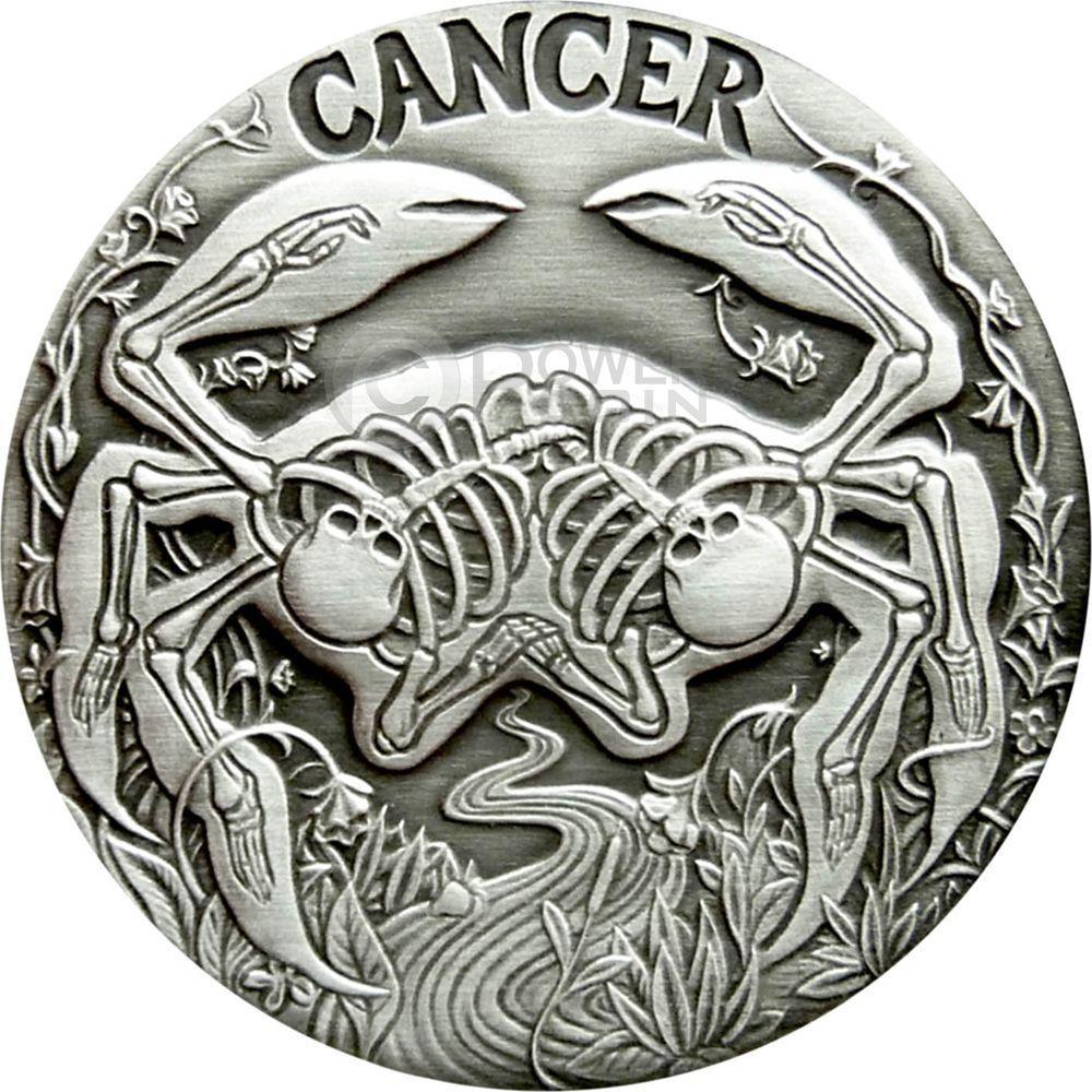 Free Shipping 50pcs/lot,CANCER Memento Mori Zodiac Skull Horoscope Silver Coin 2015(China (Mainland))