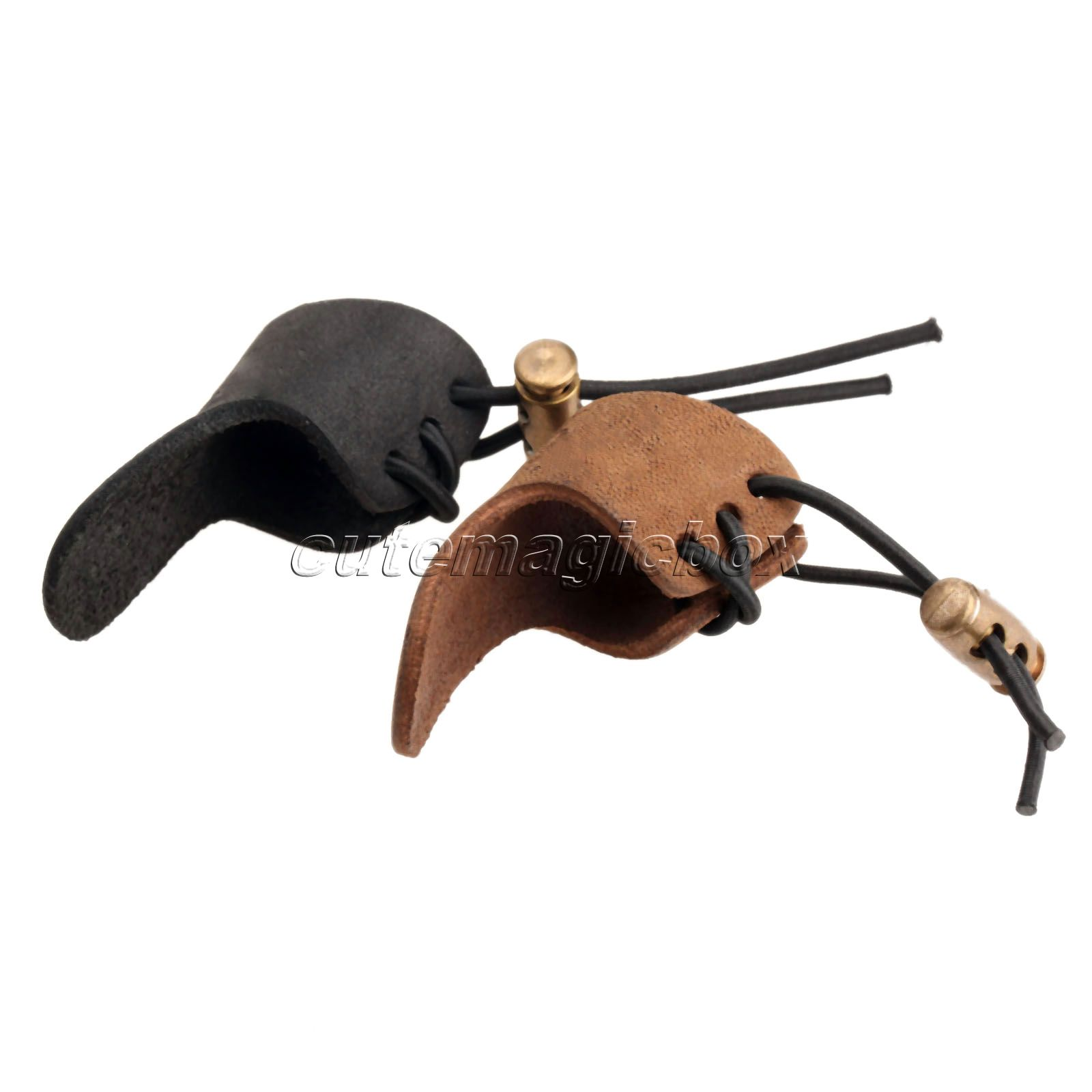 Cow Leather 1 Finger Bow Arrow Broadheads Archery Hunting Shoot Glove Thumb Finger Tip Protector Guard Pull Archery Black Brown(China (Mainland))