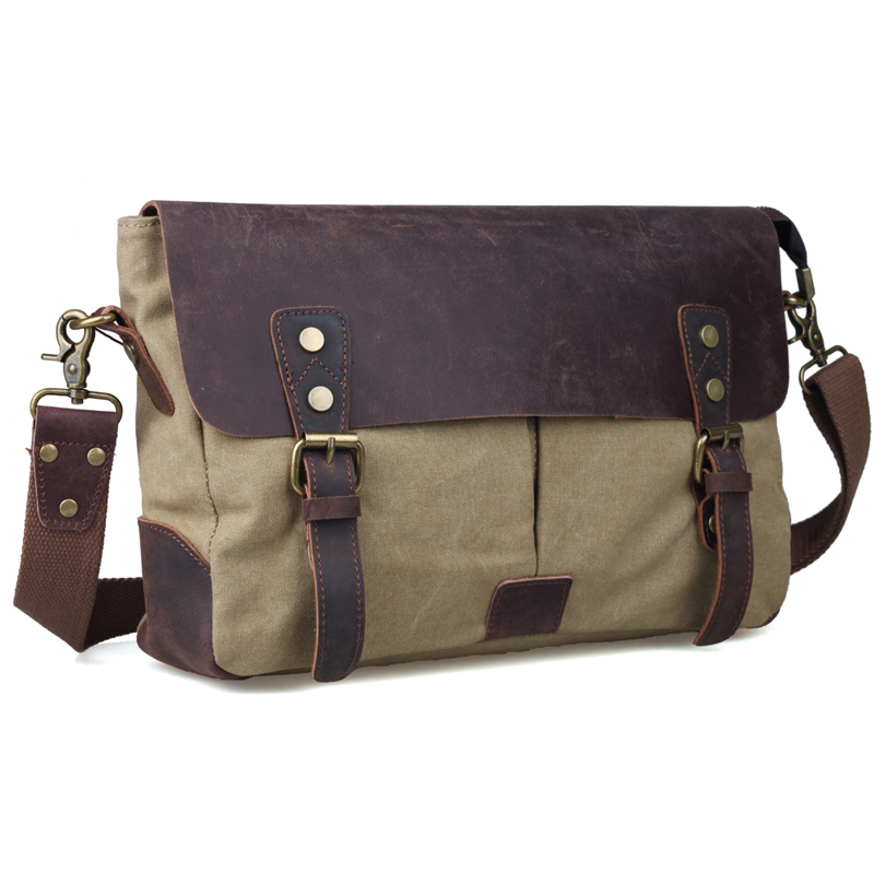 TIDING leather and canvas messenger bag vintage canvas shoulder bags for men canvas satchel 11413(China (Mainland))