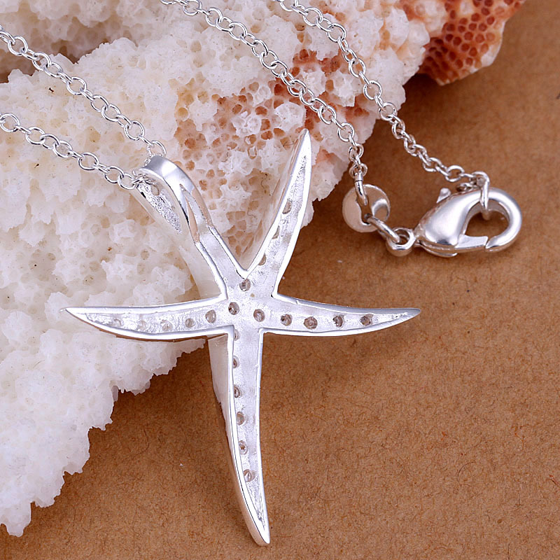 2016 New Top Quality Silver Plated & Stamped 925 big starfish with crystal stone pendant chains necklace fine jewerly wholesale(China (Mainland))