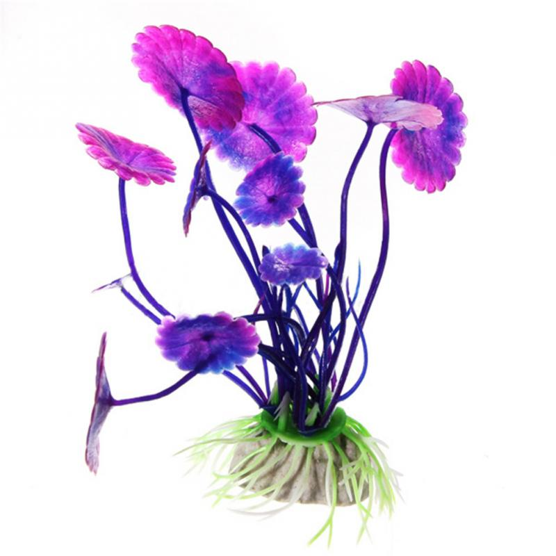Fashion Purple Artificial Aquarium Decorations Plants Fish Tank Grass Flower Ornament Decor Aquatic Animals Accessories(China (Mainland))