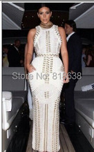 2014 Top Quality New Arrival  white sleeveless studded beaded long maxi rayon Bandage Dress Celebrity dress kim kardashian dress(China (Mainland))