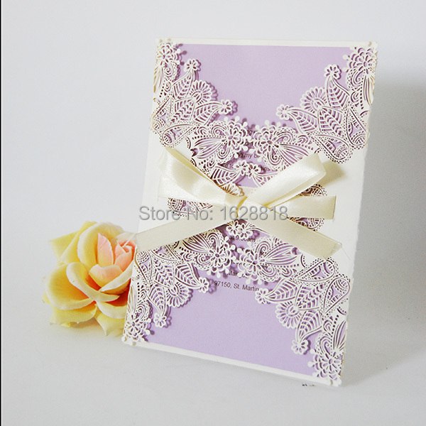 new design custom wedding invitation card price with ribbon in event